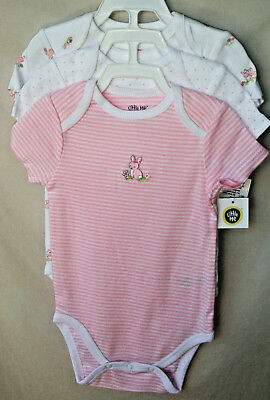 LITTLE ME 100% COTTON 3 pack BUNNIES Lap Shoulder Bodysuits *GIRL SIZES NWT