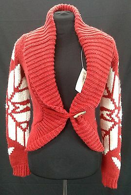 Nwt Womens American Eagle Ae Red Nordic Snowflake Toggle Cardigan Sweater  Sz M