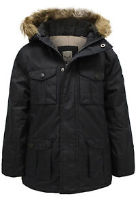 NEW BOYS COATS KIDS BACK TO SCHOOL MILITARY FUR HOODED PARKA JACKET WINTER COAT