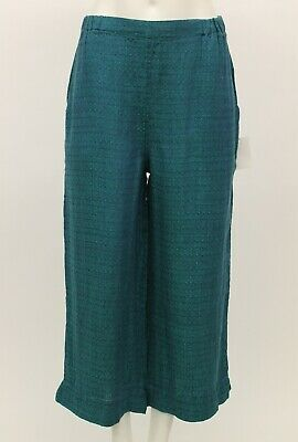 SPRING FLAX LINEN CROPPED POCKET SHORT SIMPLE PANT EMERALD SMOCKING SMALL NEW Short Simple Pocket Pant