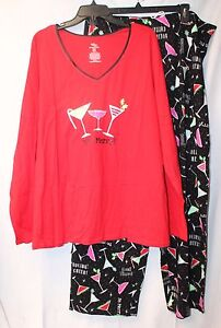 NEW-WOMENS-PLUS-SIZE-3X-2PC-HOLIDAY-CHRISTMAS-KNIT-DRINKS-COCKTAILS-PAJAMAS-PJs
