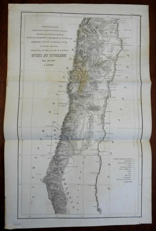 Republic of Chile Serena Copiapo Vallenar 1855 U.S. Astronomical Expedition map