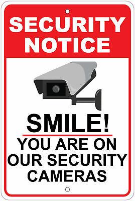 Smile Youre On Camera - Surveillance Advisory 8x12 Aluminum Sign