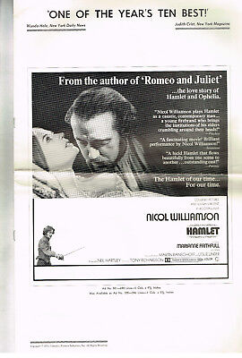 HAMLET NICOL WILLIAMSON ORIGINAL 1970 PRESSBOOK SHAKESPEARE FINE/VF T RICHARDSON