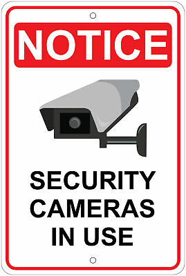 Security Cameras In Use Warning 8x12 Aluminum Sign
