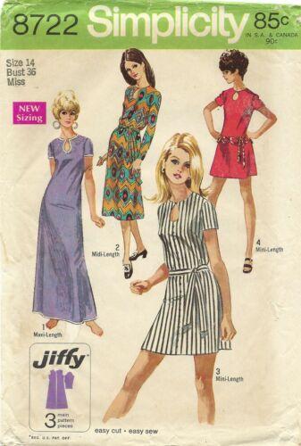 Simplicity 8722 JIFFY Mini, Maxi or Midi Dress w Keyhole Neck, Self Belt Sz 14
