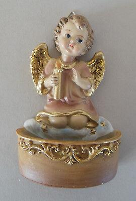 Weihwasserkessel Engel mit Kerze Weihwasser Taufgeschenk Polystone bemalt SH A