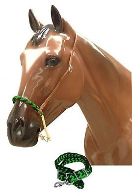 Showman Braided LIME Nylon Wax Covered Rope Noseband and Tie Down! HORSE TACK!