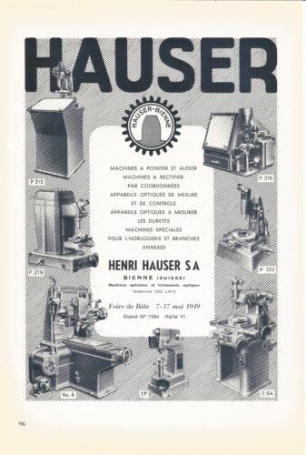 vintage 1949 print ad HENRI HAUSER Swiss watch machine inspection MID CENTURY