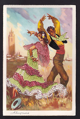 vintage dancers silk dress costume Alegrias Spain novelty postcard](Spain Costume)