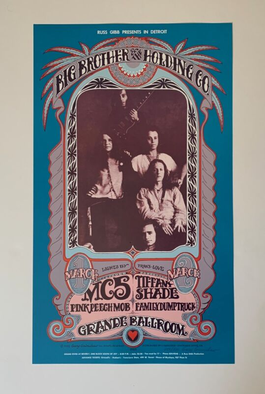 Big Brother And The Holding Company Original 1968 Concert Poster