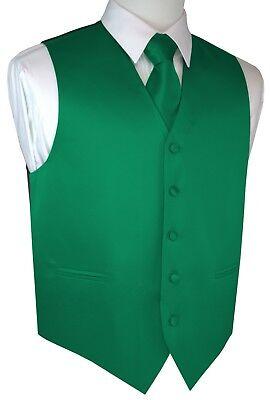MEN'S GREEN SATIN TUXEDO VEST, TIE & HANKIE SET. WEDDING, PROM, DRESS, FORMAL (Green Satin Vest)