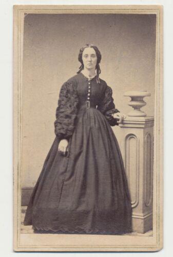 1865 CDV PHOTO FULL STANDING LADY DRESS CIVIL WAR TAX REVENUE STAMP BALTIMORE 57