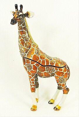 Giraffe standing jeweled pewter trinket box wildlife decor Wildlife Trinket Boxes