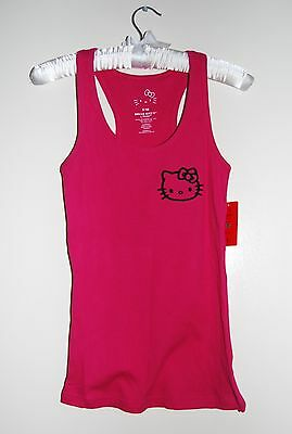 NWT Hello Kitty Junior's Hot Pink Ribbed Racerback Sleep Tank Top sz S - Hot Pink Kitty