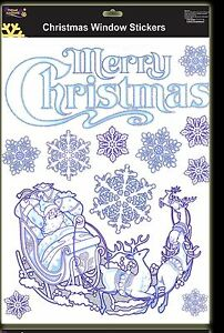 Merry-Christmas-Snowflake-Window-Stickers-With-Reindeer-Sleigh-DP64-A
