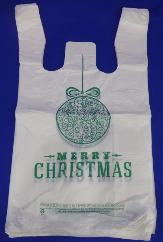 "Merry Christmas Green Ball Holiday Plastic T-Shirt Shopping Bags 11.25x6x21"""