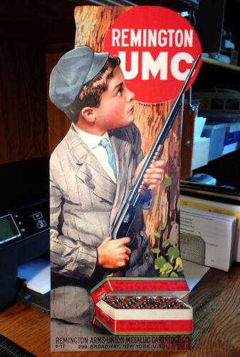 REPRO Remington UMC Boy & Model 12 behind tree. Standing Advertising Die Cut
