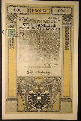 Sechste Österreichische Kriegsanleihe, 200 Kronen, Wien 1917, Jugendstil