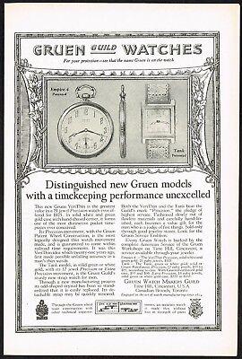 1920s Original Vintage Gruen Pocket Watch Art Print Ad c