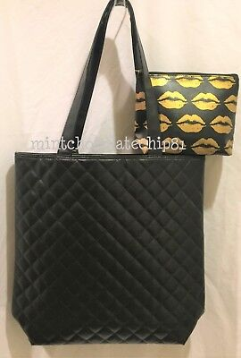 BLOOMINGDALE'S Black Quilted Shopping Shopper Tote + gold Kiss makeup bag NEW