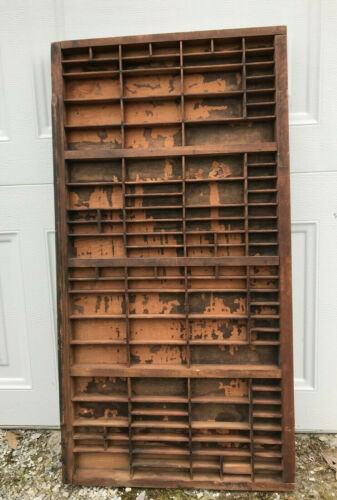 """VTG PRINTERS DRAWER TYPESET TRAY DISPLAY 32""""x16.5"""" LETTERPRESS WOOD 107 SECTIONS"""