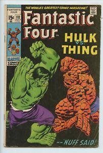 1971 MARVEL FANTASTIC FOUR #112 STAN LEE, HULK VS. THING FN 6.0 S3