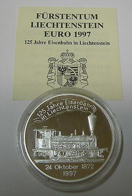 LIECHTENSTEIN 20 EURO 1997 125 JAHRE EISENBAHN LOKOMOTIVE 1872 SILBER PP COA