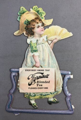 c1900 Ferndell TEA Die Cut Victorian Girl Trade Card ANTIQUE Original Advertisng