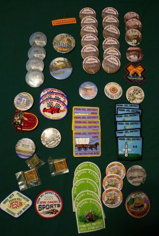 Vintage ROYAL RANGERS 65 PIN and PATCH Collection Lot UNSEWN Northeast Region