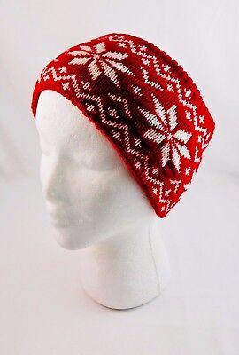 Knit Headband Red Ear Warmer Head Wrap Extra Wide White Snowflakes (Snowflake Headband)