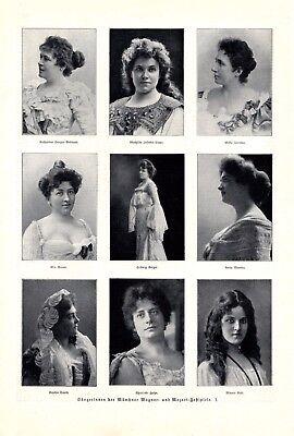 Mozart & Wagner Festspiele Münschen 1904 2 XL Seiten Sänger und Sängerinnnen
