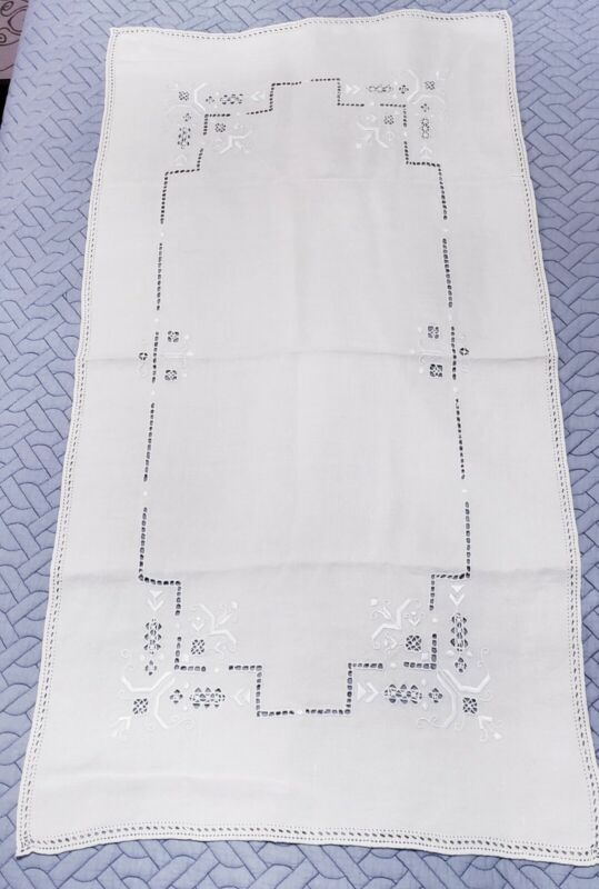 """Vintage Madiera Linen Embroidered 36"""" table runner"""