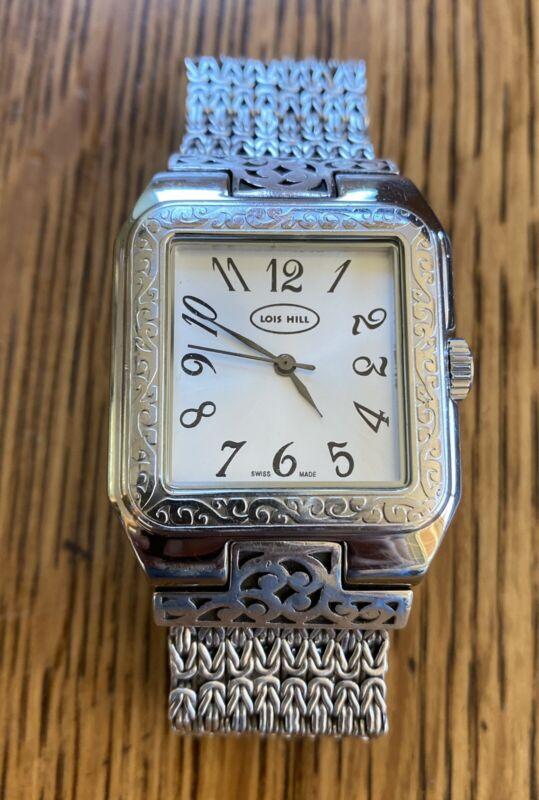 Gorgeous Lois Hill Scroll Swiss Watch Bracelet Multi Strand Box Weave .925