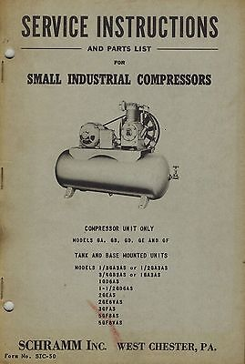 Schramm Vintage Various Models See Picture Service Parts Manual 1950