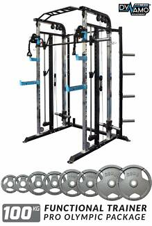 Home Gym FUNCTIONAL TRAINER Cable Crossover 100KG Weights NEW