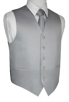 MEN'S SILVER SATIN TUXEDO VEST, TIE & HANKIE SET. Formal, Prom, Dress, Wedding