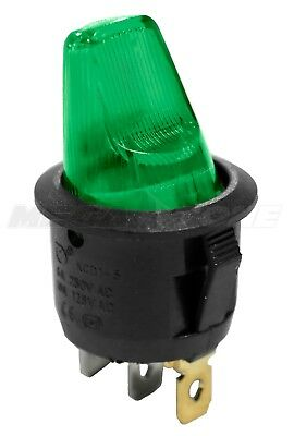 Spst Onoff Mini Rocker Switch T85 Wpaddle Handle Green Neon Lamp Usa Seller