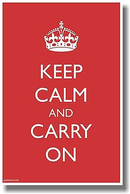 Keep Calm And Carry On - Large Text - Humor Poster