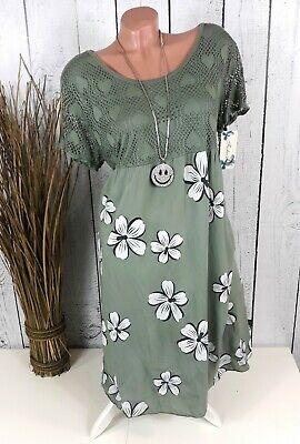 Italia Moda Sommerkleid Tunika Kleid geblümt in khaki grün Gr. 46 48 Grünes Sommer Kleid