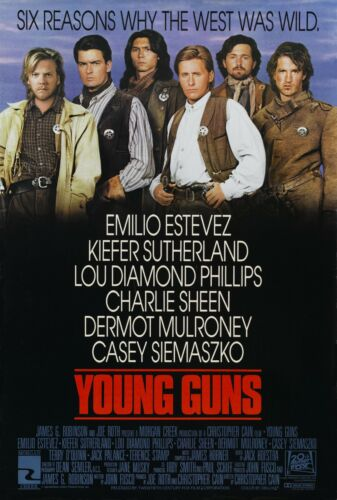 """Young Guns movie poster (b) - 11"""" x 17"""" - Kiefer Sutherland, Charlie Sheen"""
