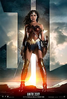 Justice League Movie Poster  24X36    Gal Gadot  Wonder Woman  Jason Momoa  V2