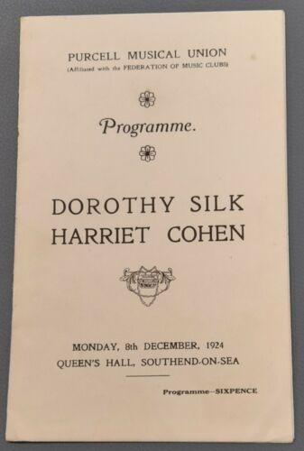 1924 Dorothy Silk Harriet Cohen Recital Programme Queen`s Hall Southend-On-Sea