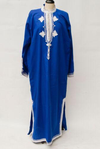Vintage BLUE WHITE Indian kaftan djellaba Robe Embroidered Boho LARGE SIZE