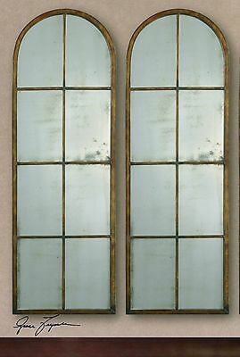 "TWO Arched 50"" Tuscan Farmhouse Industrial Designer Wall Mirror Antiqued Window"