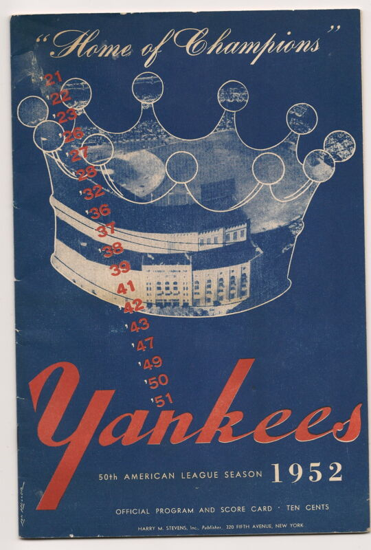 1952 New York Yankees-Browns Program Yanks Take 2 of 3 NICE!!
