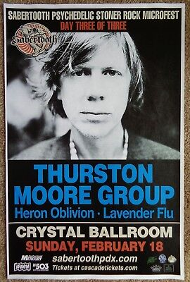THURSTON MOORE 2018 Gig POSTER Sonic Youth Portland Oregon Sabertooth Microfest