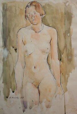 Rudolf Kreuter - Weiblicher Akt, Studie - Aquarell - 1929