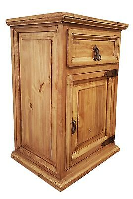 Traditional Rustic Nightstand with 1 Door and 1 Drawer Right - 1 Drawer Traditional Nightstand