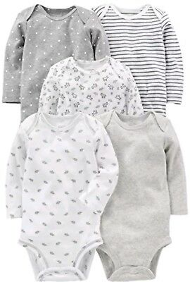 Simple Joys by Carters Baby 5-Pack Long-Sleeve Bodysuit, Gray/White, 3-6 Months